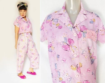 40s Rayon PJs for Women are Cold Touch Rayon Floral Pajamas, Womens Loungewear, a 40s Pajama Set, Rayon Pajamas with Butterflies