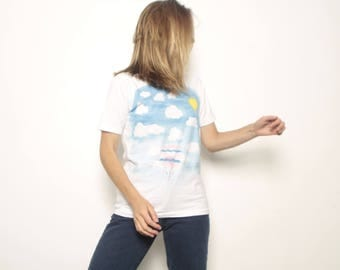 vintage 90s HOT air BALLOON in the CLOUDS faded blue fitted t-shirt top