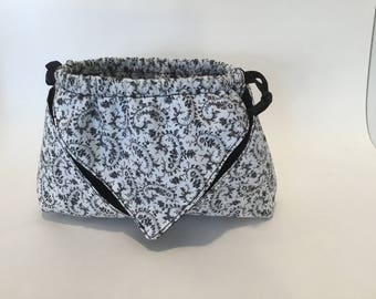 Small black and white bag with black lining