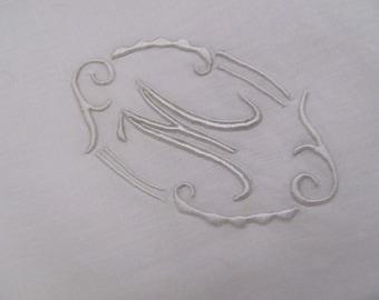 Hankie Large Solid White Cotton Hankie Monogrammed M
