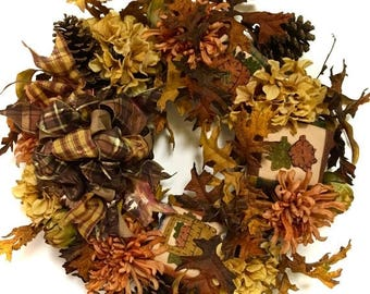 "CHRISTMAS IN JULY Fall Halloween Hydrangea Wreath Silk Floral Grapevine Rust Gold Orange Brown Approx. 24"" Indoor Outdoor  w/ Large Bow"