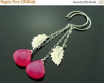 Long Hot Pink Chalcedony Sterling Silver Leaf Earrings