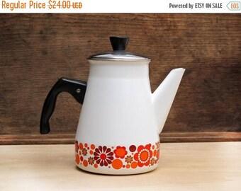 Mid century mordern kitchen, vintage enamel teapot,white enamelware coffee pot,enamel flowers, scandinavian flowers