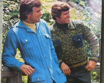 FREE SHIPPING...1974 knitting designs for men: jackets, vests, sweaters
