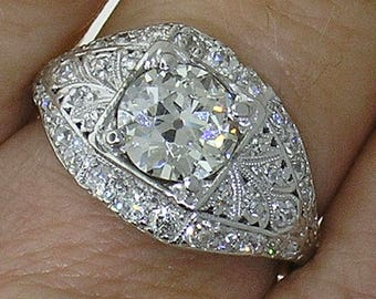 DIAMOND Engagement Ring-DAZZLING and Authentic Vintage Art Deco 1.94cts in Platinum, GIA Cert