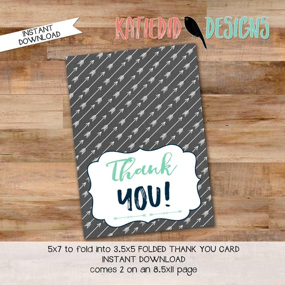 boy oh boy boho Tribal baby shower invitation tribal arrows diaper wipe brunch wood mint navy THANK YOU CARD folded 12120 Katiedid Designs