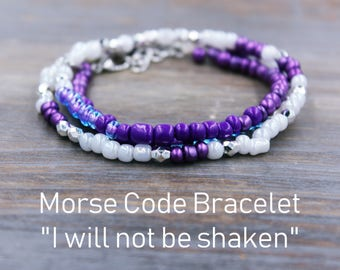 I will not be shaken Bracelet, Morse Code Jewelry, Protection Bracelet, Gift for Goddaughter, Morse Code Message, Secret Message Bracelet