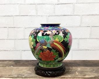 Vintage Flora & Fauna Vase   Porcelain Vase   Carved Wood Base   Global Style   Japanese Vase