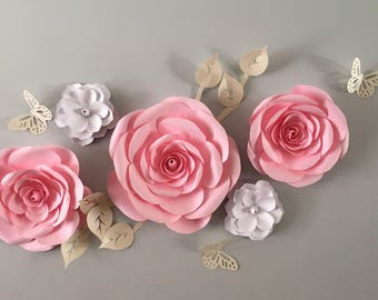 Large paper flower backdrop/ nursery paper flower wall decor/ nursery decor/ baby girl nursery decor/ Pink roses and magnolias