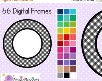 40% OFF SALE Gingham Circle Digital Frames - Clip Art Frames - Instant Download - Commercial Use