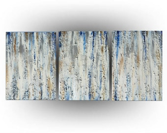 Modern Abstract Triptych painting Acrylic Palette knife Blue Metallic Gold Silver and Ivory Minimalist - 24 x 54 - Skye Taylor