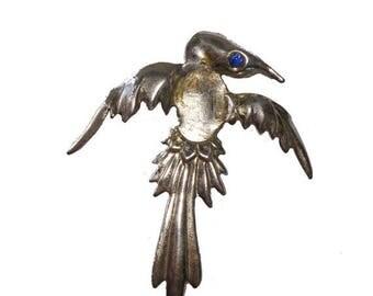 ON SALE Sterling Silver Phoenix Bird Brooch w/ Blue Jeweled Eye