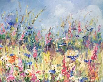 "Flower field original floral painting 16 x 20"" original painting"