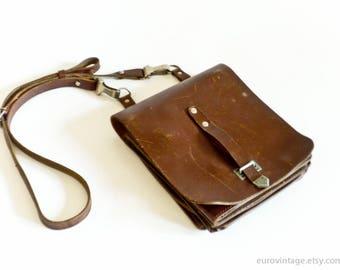 Vintage Leather Messenger Bag Tan Messenger Brown Satchel Distressed 60s