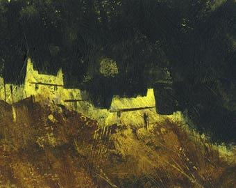 Original moorland cottage painting by Paul Bailey: Bleak moor