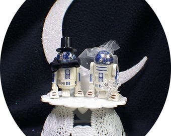 "Mr and Mrs R2-D2 Star War ""YOU PICK"" Wedding Cake Topper or Glasses, Knife Server or BOOK"