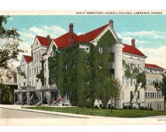 HASKELL UNIVERSITY, Girls Dormitory, Haskell College, Lawrence Kansas Vintage Postcard