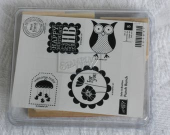 Sale-A-Bration Stamp Set - Owl - Welcome Baby - Happy Birthday - Friend - For You - Set of 5 Stamps- Destash - Never Used - Ready to Ship