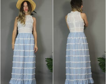 Vintage Gingham Dress Boho Hippie Lace Bodice Ruffle Farmer's Daughter Dress