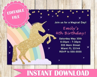 ON SALE Printable Unicorn Invitation Gold Glitter Unicorn Rainbow Invitation Girl Unicorn Birthday Invitation - Instant Download