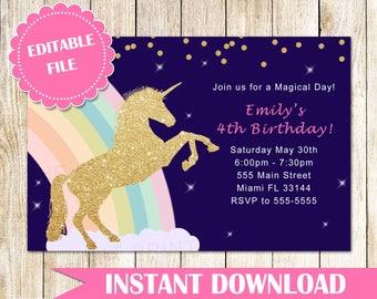 ON SALE Printable Unicorn Invitation Gold Glitter Unicorn Rainbow Invitation Girl Unicorn Birthday Invitation - Instant Download