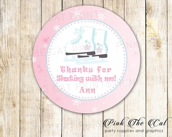 Iceskate favor labels, Iceskating Gift Favor Tags, Printable Thank You Labels Girl Birthday, Iceskating Birthday Party, Personalized Labels