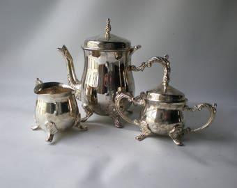 Vintage Tiny Silverplate Tea Set Miniature Child's Tea Set