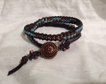 Double Wrap Brown Leather Ladder  Bracelet w/ Turquoise & Red/Turquoise Beads