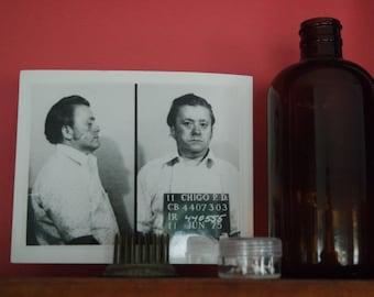 Vintage 1975 MugShot Chicago P.D. Black and White Crime Photograph