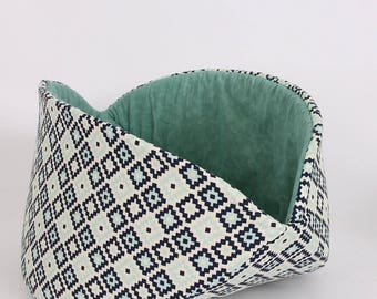 Navy Blue, Aqua and White geometric fabric cat bed designed for large cats - The Jumbo Cat Canoe