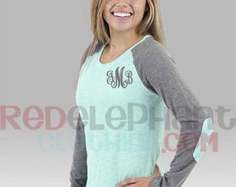 Womens Raglan Shirt, Personalized Baseball Raglan Shirt, Monogram Raglan Tee, Monogram Raglan Shirt, Baseball Shirt for ladies, Preppy Slub