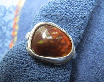 Mexican Fire Agate Free Form in Argentium Sterling Ring Size 6