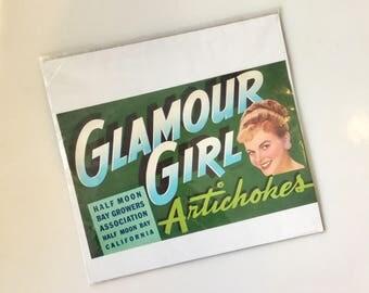 1950s Vintage FRUIT Crate Label // Artichokes // Glamour Girl // 1950s Kitchen Decor