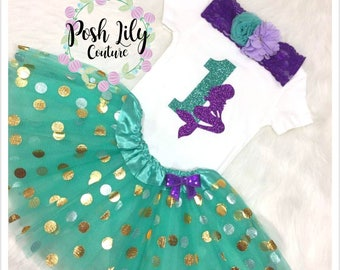 First birthday mermaid Outfit, sparkly shell one bodysuit and teal gold tutu set, toddler mermaid birthday, purple and teal mermaid tutu set