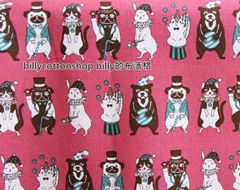 m34_55 - dogs and cats fabrics- Lightweight Cotton Canvas  ( 3 color to choose) in Half Yard