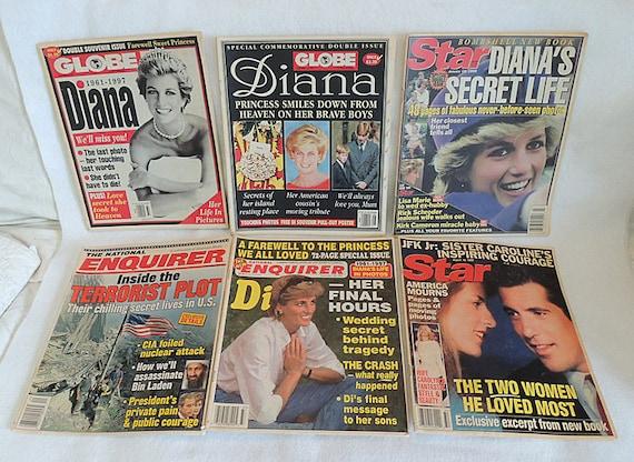 6 Magazines.. 2 Globe, 2 Enquirer And 2 Star.. 1997-2001 DIANA, JFK JR & 9/11