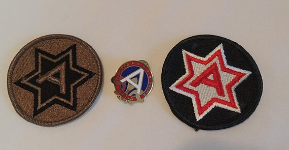 Vintage US Military 3rd Army Unit Di Dui Semper Prima Tertia Pin & 2 patches