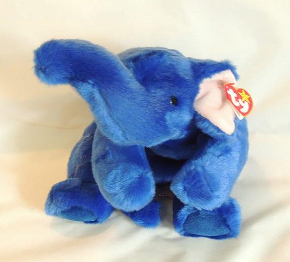 Ty Peanut The Royal Blue Elephant Beanie Buddies Buddy 3rd Gen Tush/Heart Tag