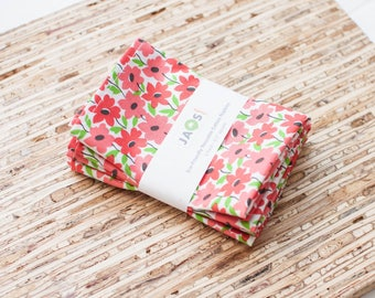 Small Cloth Napkins - Set of 4 - (N4856s) - Tropical Garden Pink Coral Floral Modern Reusable Fabric Napkins