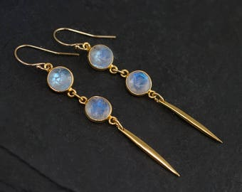 Rainbow Moonstone Long Gold Dangle Earring - Minimal Jewelry - Spike Earrings - Long thin Gold Earrings - Needle Earrings - Modern Earrings