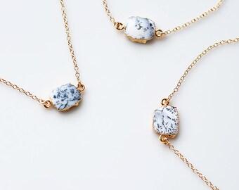 Dendrite Opal Gem Slice Necklace, 14k Gold Filled Minimalist Choker, Gemstone Necklace, Bridesmaid Gift, Marble Jewelry, Boho Necklace