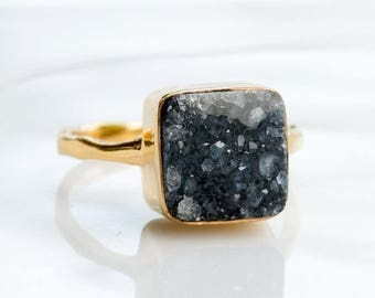 40 OFF - Black Druzy Ring - Birthstone Ring - Gemstone Ring - Stacking Ring - Sterling Silver Ring - Cushion Stone Ring - Stackable Ring
