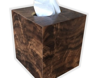 Tissue box cover American Crotch Walnut veneer - square cube