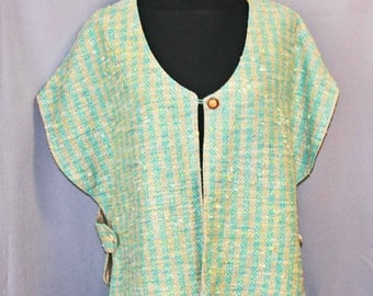 Turquoise and tan silk vest, hand woven tabard, handwoven silk