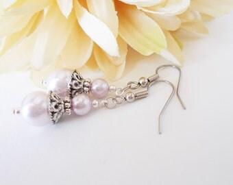 Lavender Earrings Pearl Drop Earrings Bridal Party Gifts Bridesmaids Earrings Sterling Silver, Ultraviolet Earrings, Lilac Earrings Wedding