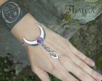 Moon bracelet ring - amethyst