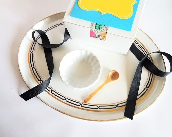 Featured listing image: Face Mask Mixing Dish with a Bamboo Spoon | Porcelain Dish Mixing Bowl Set