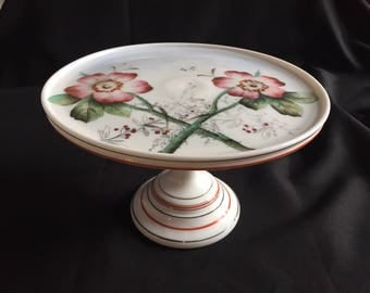 Challinor Taylor Victorian Milk Glass Cake Plate Stand Handpainted