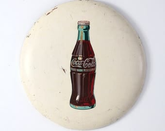 vintage Coca-Cola sign, large white metal Coke button sign