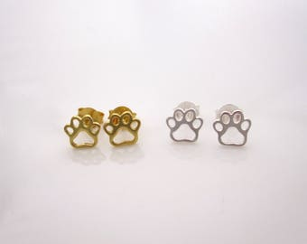Cutout animal PAW PRINT outline yellow gold and sterling silver stud earrings